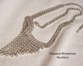 Sparkling Deco layered dangle all clear Rhinestone Necklace