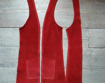 Red Suede, Leather Supplies, 3 Long Pieces, Eco Friendly Hide, Thick Pile, Vintage 70s, Supple & Workable, Crafting, Sewing, Free Shipping