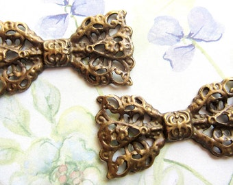 6 Antique bronze filigree bow connector jewelry finding diy supplies no lead no nickel 22mm x 42mm