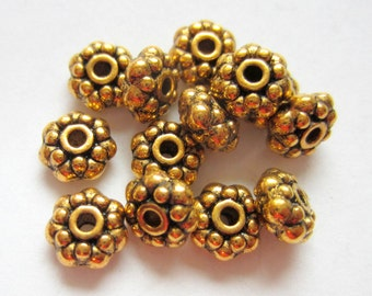 30 Antique gold beads  metal  spacer jewelry supply 8mm x 4mm lead free nickle free F0358y