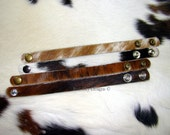 """Variety Pack of 4 Cowhide Leather Cuffs - 5/8"""" width -  Cowhide Bracelets - Cowhide Supply - Cowhide Cuff - Leather Cuff - Leather Supply"""
