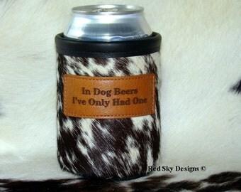 Man Cave  - Mens Gift - Beverage Holder - Beer Holder - Leather Coolie - Cowhide Beverage Holder - Beer Can - Hunting - Beverage Coolie