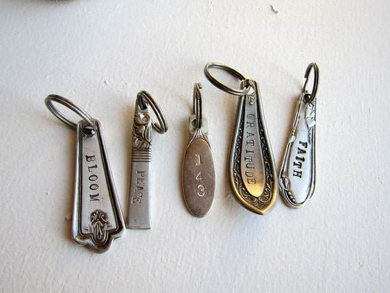 Personalized Custom Words Upycled Silver Spoon Key Ring