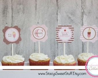 Ice Cream Birthday Cupcake Toppers