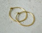 18k Gold Hoop Earrings - Tiny Hoops, gold hoops, 10mm hoop earrings