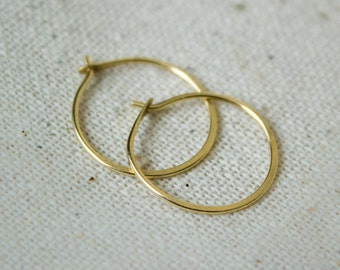 18k Gold Hoop Earrings - Tiny Hoops, gold hoops, 10mm hoop earrings