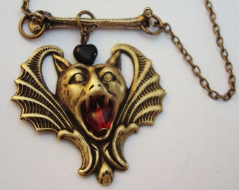 Vampire Taking Of My Heart Necklace, Original Design, Hand Made, Blood Red Glass Heart, Bone Bail, Jet Jewel Heart,