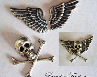 """Gothic Jewelry Supplies, 7/8"""" Skull, 7/8"""" Wings, USA Metal Stampings, Necklace Or Brooch Components, Bracelet Parts, Embellishments"""