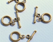 10 sets Antique Gold or Antique Silver Tibetan Style Toggle Clasps,  Lead Free cadmium free  Toggle: 10mm wide, 14mm long, Tbar 16mm long