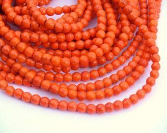 1 strand 6mm Turquoise Howlite Orange Full Bead Strand 68 beads