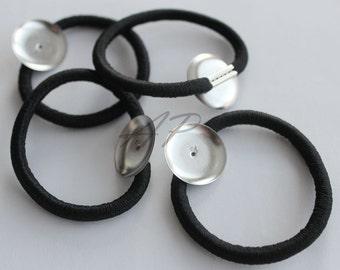 Set of 24pcs Hair Elastic Ring w/ 20mm Round Metal Base(Ponytail Holder..Hair Ties.. For DIY Hair Accessories)