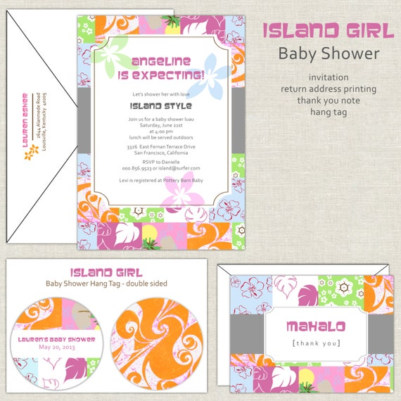 hawaiian baby shower invitation island theme baby shower tropical