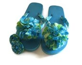 Reserved for Cynthia-Decorated Flip Flops  Blue With Green Trim Size XL