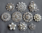 10 Rhinestone Brooch Pinback Button X LARGE Pearl Crystal Wedding Bridal Brooch Bouquet Invitation Cake Decoration BR291