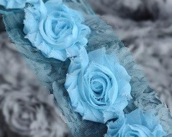 1 Yard Shabby Rose Trim 14 Shabby Flower Shabby Frayed Chiffon Flowers Light Blue Wedding Bridal Hair Accessory Headband LA059