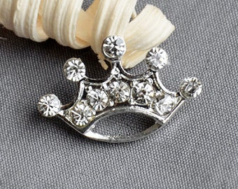 10 Rhinestone Button Brooch Embellishment Crystal TIARA CROWN Wedding Brooch Bouquet Invitation Cake Hair Comb Pin Clip BT545