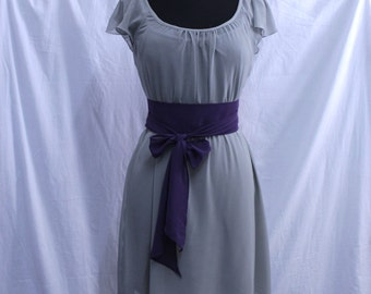 Bridesmaid Gray Chiffon Dress, Mismatched Belt, Custom, Ready made , Formal, Reception, Wedding Guest