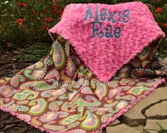 Paisley,Lily Pond,Baby Girl Blanket,Hot Pink Minky Swirl,Personalized,Girl,Toddler,Crib,Teen,Blanket,Stroller,Minky Blanket