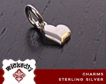 Slanted Heart charm - ONE CHARM with jump ring - Sterling silver or gold-filled plated plated