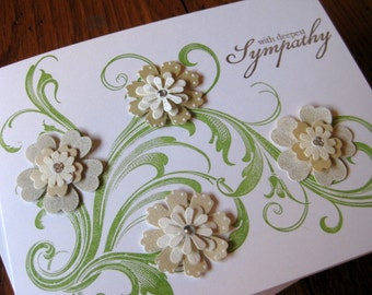 with deepest sympathy with beautiful 3D flower embellishments on scrolled stem - handmade greeting card