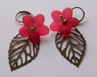Brass leaf with red flower earrings