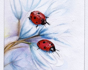 Companions - Ladybugs Original Watercolor Painting