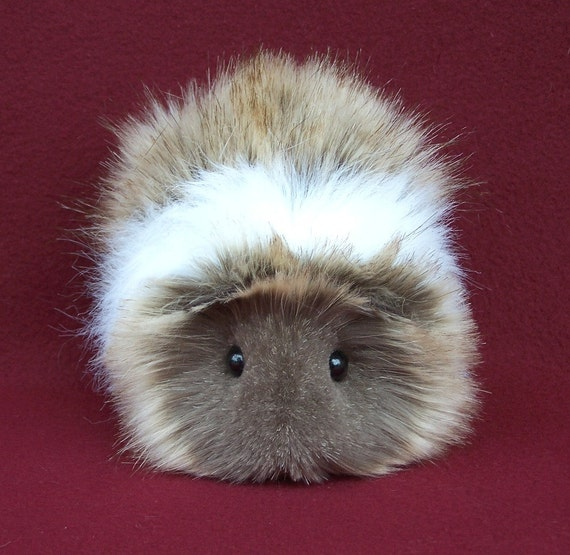 Cocoa Brown And White Guinea Pig Handmade Plush Toy
