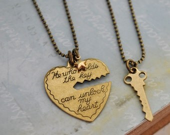 KEY To MY HEART antique brass two necklaces set with solid brass star charm, Valentine Heart jewelry, unlock heart with key,