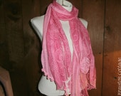Hand dyed rosy pink lace scarf with rosette accent Romantic long accessory