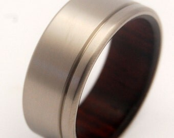 Titanium Rosewood Wedding Band, Mens Ring, Womens Ring, Unique Wedding Ring, Eco-Friendly Rings, Wooden Rings, Popular Rings - UNFETTERED