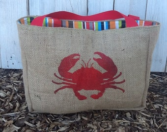 Eco-Friendly Crab Design Market Tote Bag, Handmade from a Recycled Coffee Sack