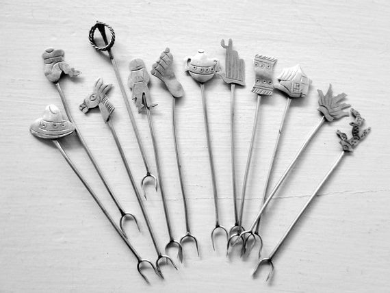 SALE Sterling Silver 12 Hors D'oeuvre 12 Figural Taxco Pick Spears Skewers