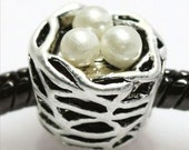 Bird Nest with White Pearl Eggs Charm - Fits European Style Bracelets