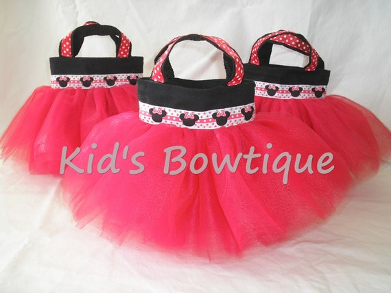Set of 6 Red Minnie Mouse Disney Themed Party Favor Tutu Bags