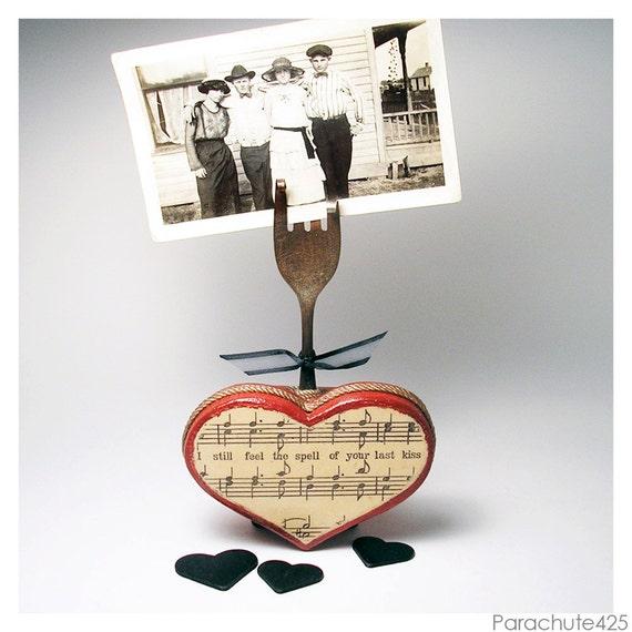 Sale LAST KISS, recycled fork photo holder, Valentine gift, Valentine decoration, wooden heart, vintage sheet music, anniversary gift