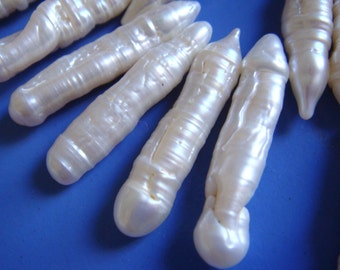 "P5. Fresh Water Pearl 7x27mm White Stick BIWA Shape 16"" Inches"