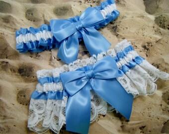 Copenhagen Blue White Ribbon Lace Wedding Bridal Garter Toss Set