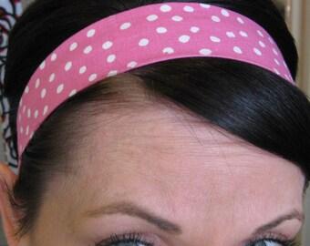 Pink Stay Put Headband w/ White Polka Dots