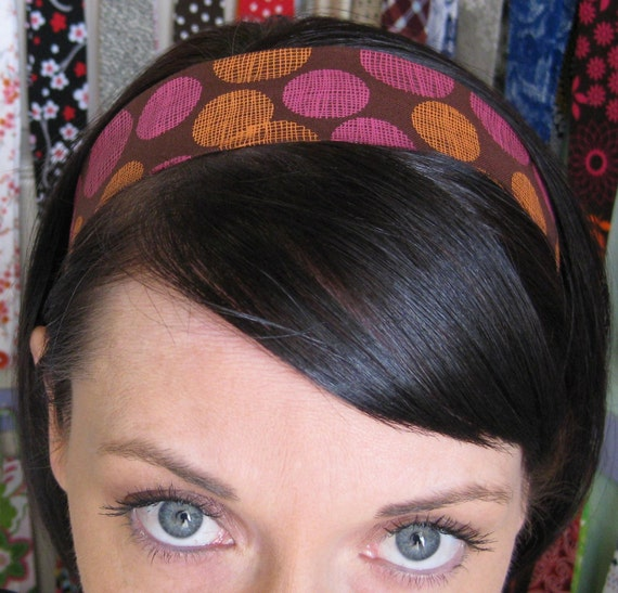 Fuschia Pink and Orange Graphic Polka Dots on a Brown Stay Put Headband