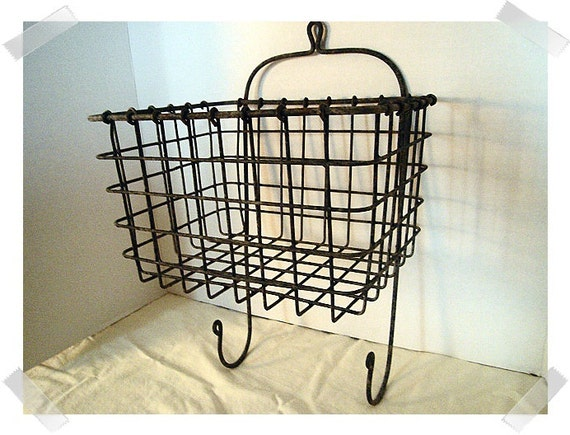 metal miners basket with hooks aged by kathyscraftroom55 on etsy. Black Bedroom Furniture Sets. Home Design Ideas