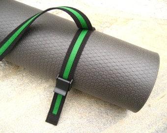 Unisex Strap a Mat YOGA MAT SLING Tote  & Yoga Strap in Black Webbing / Kelly Green Ribbon