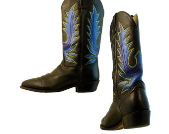 Tall Cowboy Boots  Leather Men or Women // Size 8 1/2 EE Men, Size 10 Women // Black, Sapphire, Amethyst, Citrine Hand Painted Beauties