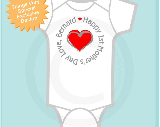 Personalized Happy First Mother's Day, 1st Mother's Day with Red Heart Tee Shirt or Onesie, New Mom Gift (04192013a)