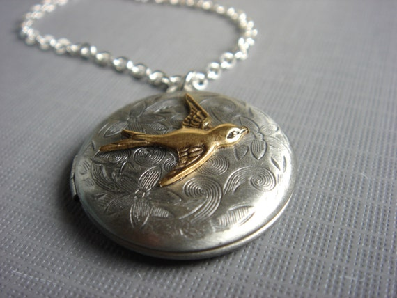 A Little Birdie Told Me - Necklace - Antiqued Silver Floral Sparrow Locket - Two Tone Pendant - Keepsake Jewelry