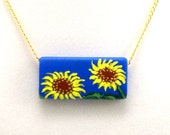 Sunflower Necklace, Hand Painted Wood Bead, Original Design, Painted Flower Necklace, for Sunflower Lovers