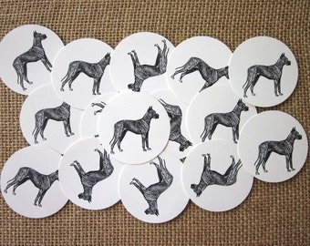 Great Dane Dog Tags Round Paper Gift Tags Set of 10