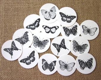Butterfly Tags Round Paper Gift Tags Set of 10