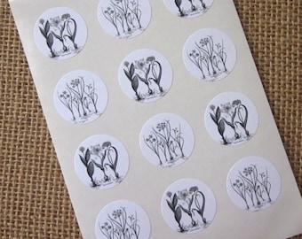 Flower Bulbs Stickers One Inch Round Seals