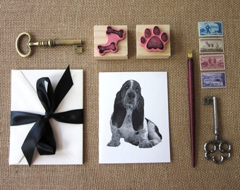 Basset Hound Dog Note Cards Set of 10 with Matching Envelopes