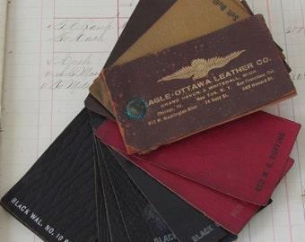 Two Sets Vintage Leather Salesman's Sample Decks - Eagle-Ottawa Leather Co Grand Haven MI M251